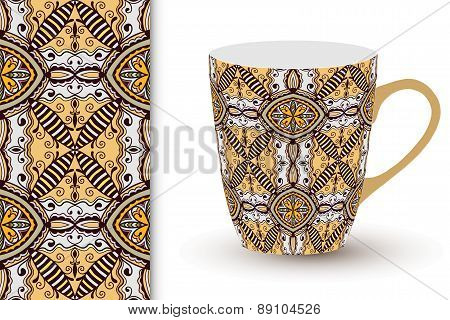 Seamless geometric pattern and cup with decorative ornament.