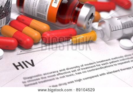HIV Diagnosis. Medical Concept. Composition of Medicaments.