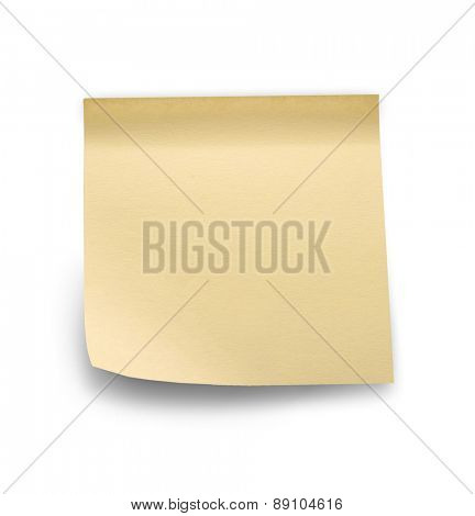 Yellow note sticks on white background