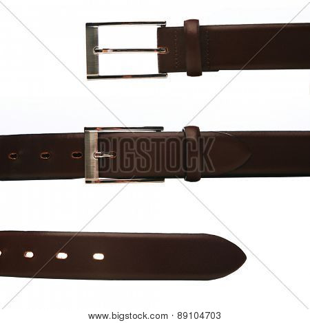 Elegant trousers belt on white background
