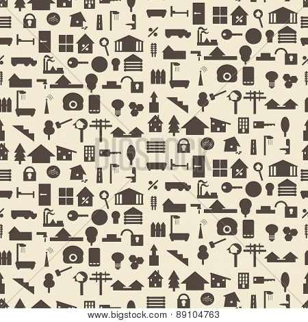 Real estate and construction icon silhouette set seamless texture.   Editable vector illustration. P