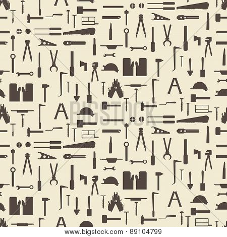 Construction tool icon silhouette set seamless texture.   Editable vector illustration. Perfect as