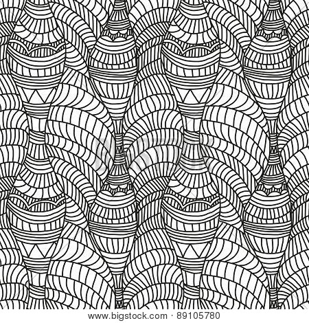 Seamless pattern with hand-drawn waves and lines