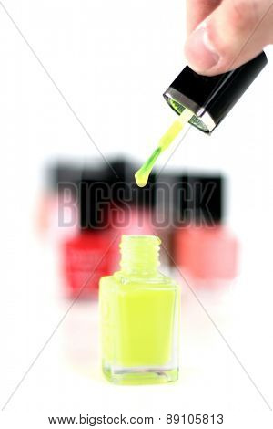Fingernail polish on white background