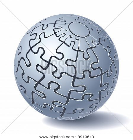 Jigsaw Puzzle Sphere. All Parts Together. Vector Illustration