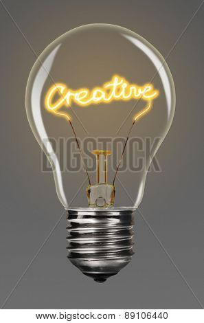 bulb with glowing creative word inside of it, creativity concept
