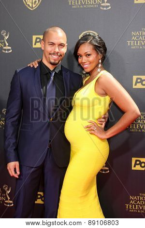 LOS ANGELES - APR 26:  Bryton James, Mishael Morgan at the 2015 Daytime Emmy Awards at the Warner Brothers Studio Lot on April 26, 2015 in Burbank, CA