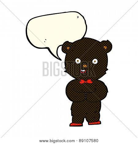 cartoon teddy black bear with speech bubble