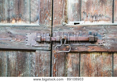Deadbolt On Wooden Door
