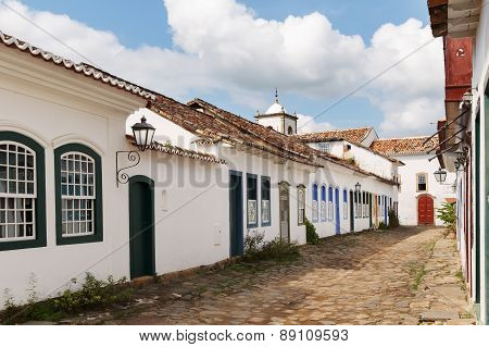 Old Portuguese Colonial Houses And Church In Historic Downtown Of Paraty, Brazil