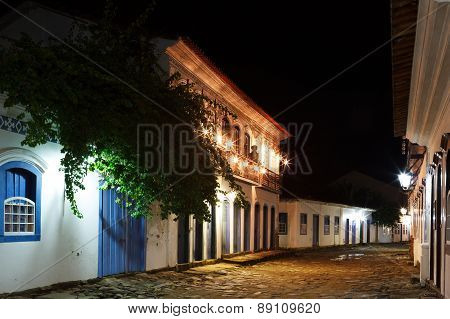 Night View Of Old Colonial Houses In Historic Downtown Of Paraty, Brazil