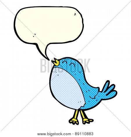 cartoon singing bird with speech bubble