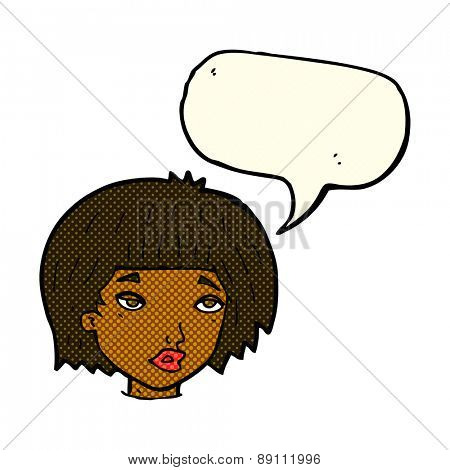cartoon bored looking woman with speech bubble