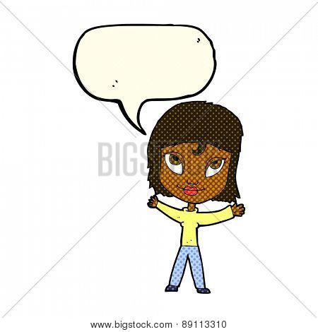 cartoon happy woman waving arms with speech bubble