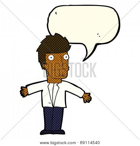 cartoon confused man with speech bubble