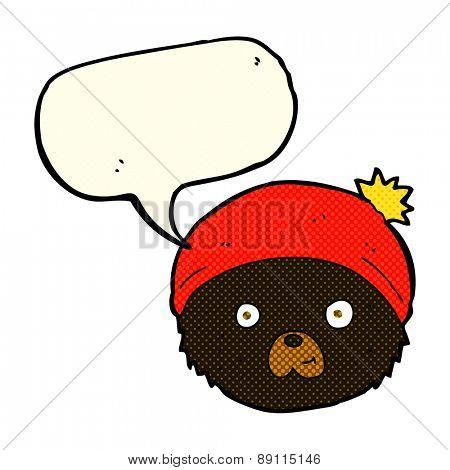 cartoon teddy bear face with speech bubble