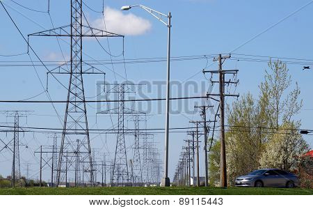 Lamppost in Front of Powerlines