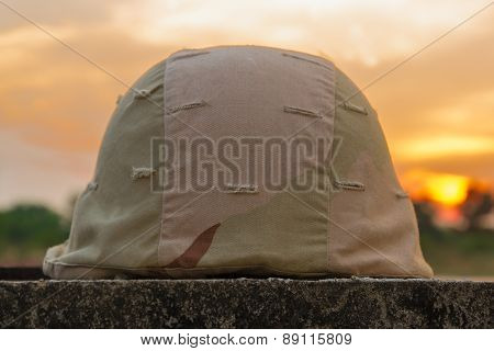 A military helmet