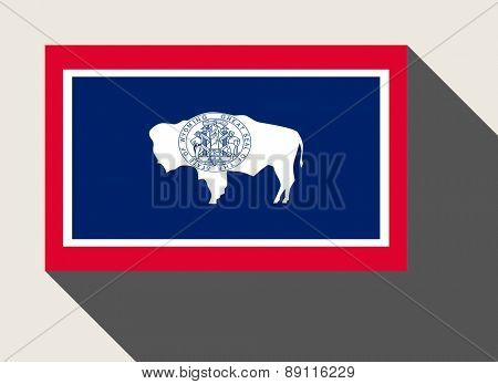 American State of Wyoming flag in flat web design style.