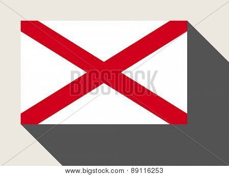 American State of Alabama flag in flat web design style.