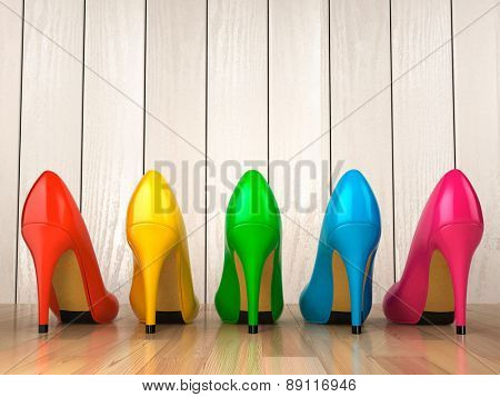 Shopping concept. Choice of colored high heels shoes on white wood background. 3d