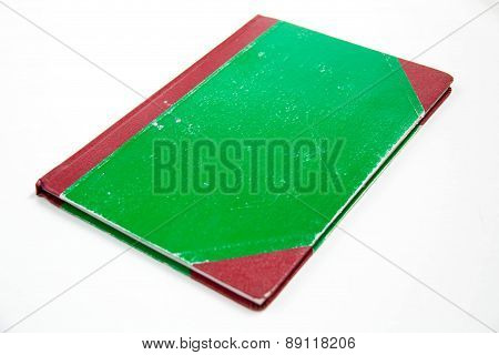 Green Cover Book On White Background.