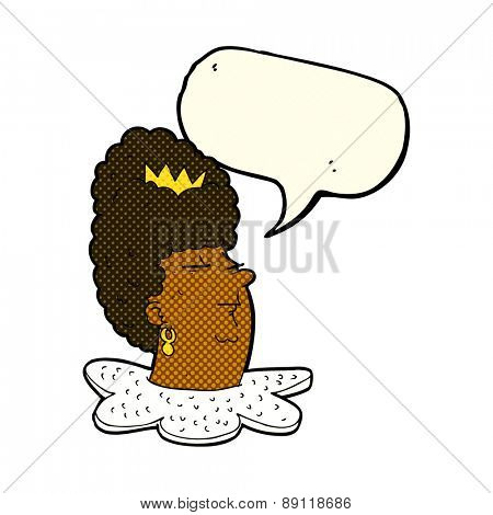 cartoon queen's head with speech bubble