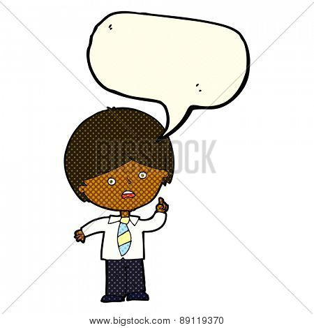 cartoon worried school boy raising hand with speech bubble