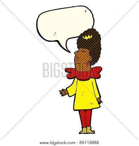 cartoon queen with speech bubble