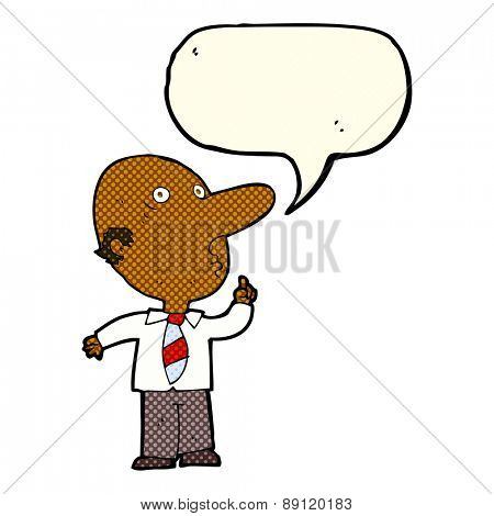 cartoon bald man asking question with speech bubble