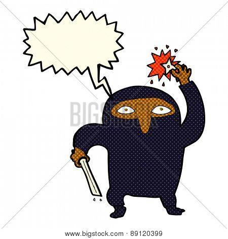 cartoon ninja with speech bubble