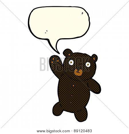 cartoon cute black teddy bear with speech bubble