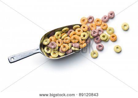colorful cereal rings in metal scoop