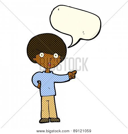 cartoon pointing boy with speech bubble
