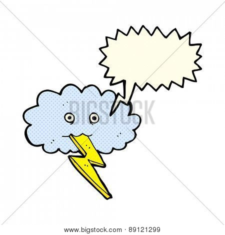 cartoon lightning bolt and cloud with speech bubble