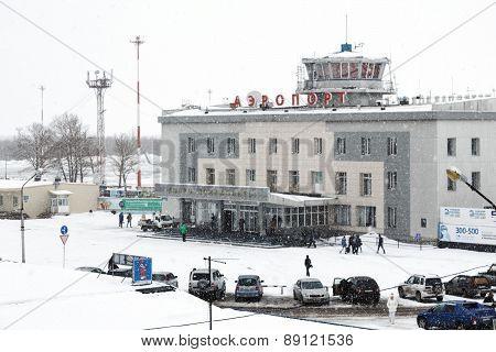 Winter View Of Airport Terminal Petropavlovsk-Kamchatsky. Russia, Kamchatka Peninsula