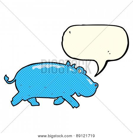 cartoon hippopotamus with speech bubble