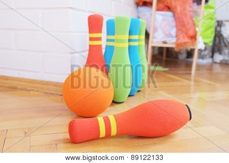 Children's toy. Bowling soft colorful pins