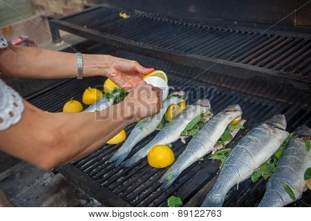 preparing fish meal outdoors