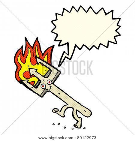 cartoon devil fork with speech bubble
