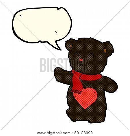 cartoon teddy bear with love heart with speech bubble
