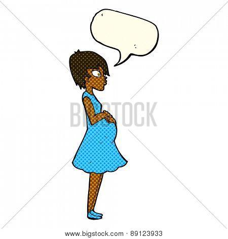 cartoon pregnant woman with speech bubble