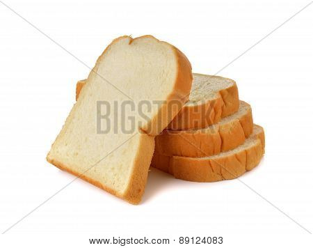 Stack Of Sliced American White Bread On White Background
