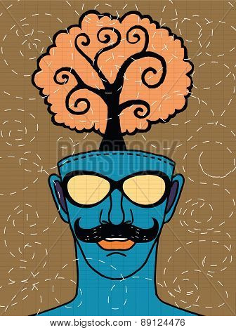 Hipster Hand Drawn Human Head With Tree