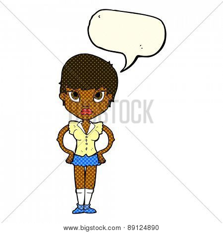 cartoon annoyed girl with speech bubble
