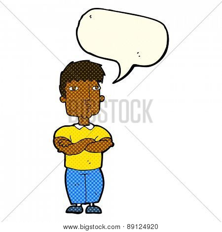 cartoon man with crossed arms with speech bubble