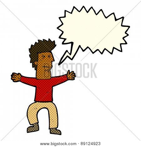 cartoon stressed out man with speech bubble