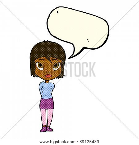 cartoon shy girl with speech bubble