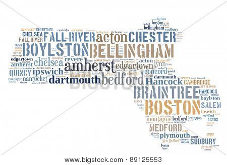Word Cloud in the shape of Massachusetts showing some of the cities in the state