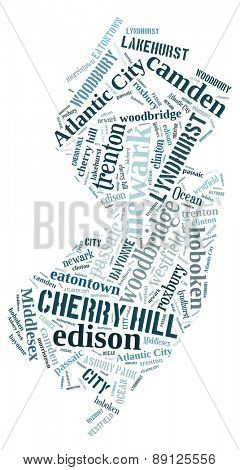 Word Cloud in the shape of New Jersey showing some of the cities in the state